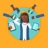 Jonge die vrouw met haar gadgets wordt omringd stock illustratie