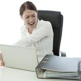 Jonge donkerbruine bedrijfsvrouw in woede stock afbeeldingen