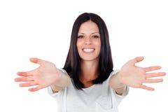Jonge donkerbruine opgewekte vrouw Stock Foto