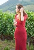 Jonge donkerbruine schoonheid in de wijngaarden royalty-vrije stock foto