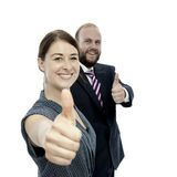 Jonge donkerbruine vrouw en bedrijfsman duim omhoog stock foto's