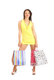 Jonge donkerbruine vrouwenholding het winkelen zakken Royalty-vrije Stock Foto