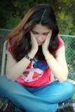 Jonge droevige vrouwenvrede Royalty-vrije Stock Afbeelding
