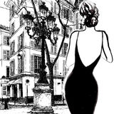 Jonge elegante vrouw in een zwarte kleding Royalty-vrije Stock Foto's