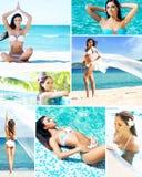 Jonge en mooie meisjes op de exotische toevlucht bij de zomer Stock Fotografie