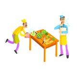 Jonge en Oude Cook In Kitchen Royalty-vrije Stock Fotografie