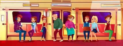 Jonge en oude mensen in metro vectorillustratie vector illustratie