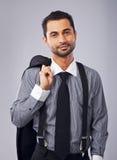 Jonge en Succesvolle Zakenman in Formeel Kostuum stock foto