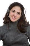 Vrouw met hoofdtelefoon royalty-vrije stock foto
