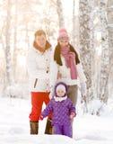 Jonge Familie in de winterbos stock afbeeldingen