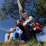 Jonge familie in de de zomeraard Stock Fotografie