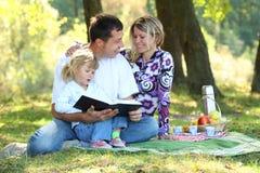 Jonge familie die een picknick in aard hebben Stock Fotografie