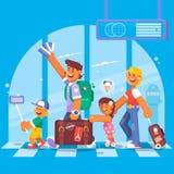 Jonge Familie Vadermoeder, zoon en dochter bij de luchthaven Vector illustratie Stock Fotografie