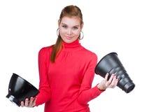 Jonge fotomedewerker Stock Foto's