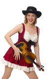Jonge geïsoleerde vioolspeler Royalty-vrije Stock Foto