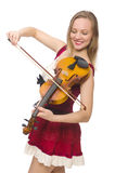 Jonge geïsoleerde vioolspeler Stock Foto