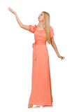 Jonge geïsoleerde vrouw in roze romantische kleding Royalty-vrije Stock Fotografie