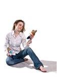 Jonge geïsoleerdet vrouw. Royalty-vrije Stock Foto