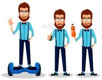 Jonge gebaarde hipstermens in glazen stock illustratie