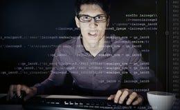 Jonge Gefrustreerde Programmeur Stock Foto's