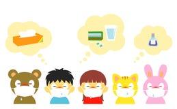 Jonge geitjes, allergie, koude, masker royalty-vrije illustratie