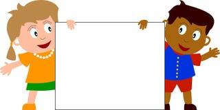 Jonge geitjes & Banner [2] Stock Fotografie