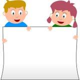 Jonge geitjes & Banner [4] Stock Afbeeldingen