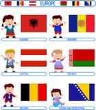 Jonge geitjes & Vlaggen - Europa [1] Royalty-vrije Stock Afbeelding