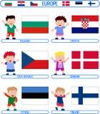 Jonge geitjes & Vlaggen - Europa [2] royalty-vrije illustratie