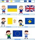 Jonge geitjes & Vlaggen - Europa [8] Stock Foto's