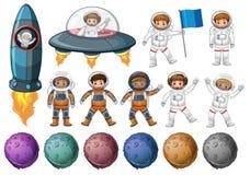 Jonge geitjes in astronautenkostuum en verschillende planeten stock illustratie