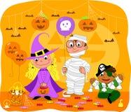 Jonge geitjes bij de partij van Halloween Royalty-vrije Stock Afbeelding