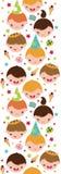 Jonge geitjes bij een verticaal naadloos patroon van de verjaardagspartij Stock Afbeeldingen
