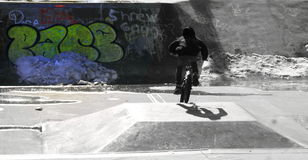 Jonge geitjes bij fietspark die stunts doen Stock Fotografie