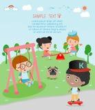 Jonge geitjes bij speelplaats, jonge geitjestijd die, Kinderen in de speelplaats, Vectorillustratie spelen Stock Illustratie