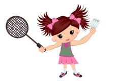 Jonge geitjes die badminton spelen stock illustratie