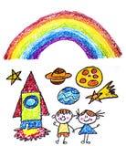 Jonge geitjes die beeld trekken Ruimteexploratie School, kleuterschoolillustratie Het spel en groeit Kleurpotloodbeeld Ufo, vreem stock foto