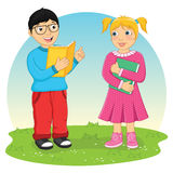 Jonge geitjes die Boek Vectorillustratie lezen Stock Afbeeldingen