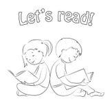 Jonge geitjes die boeken lezen - overzicht Kleurende pagina Stock Foto's
