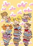 Jonge geitjes die boekenonderwijs, school, het leren conceptenillustratie lezen Royalty-vrije Stock Afbeeldingen
