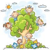 Jonge geitjes die in de boom spelen vector illustratie