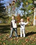 Jonge geitjes die in de herfstpark spelen Stock Afbeelding