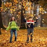 Jonge geitjes die in de herfstpark spelen Royalty-vrije Stock Fotografie