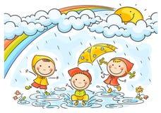 Jonge geitjes die in de regen spelen stock illustratie