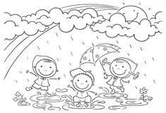 Jonge geitjes die in de regen spelen vector illustratie