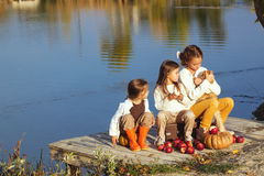 Jonge geitjes die dichtbij het meer in de herfst spelen Stock Fotografie