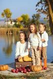 Jonge geitjes die dichtbij het meer in de herfst spelen Royalty-vrije Stock Afbeelding