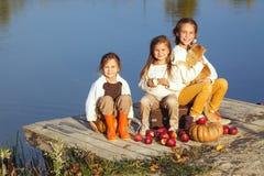 Jonge geitjes die dichtbij het meer in de herfst spelen Royalty-vrije Stock Afbeeldingen