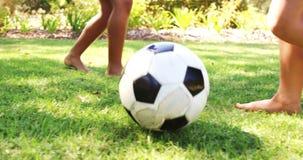 Jonge geitjes die een voetbal in park spelen stock videobeelden