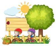 Jonge geitjes die Fiets in Sunny Day berijden stock illustratie